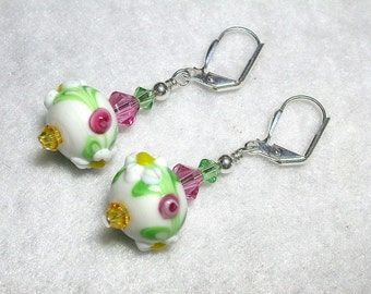 Pink Earrings White Earrings Lampwork Flower Earrings Swarovski Crystal Leverback Hooks Wire Wrapped Gifts under 5