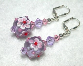 Violet Purple Earrings Pink Earrings Lampwork Cubes Swarovski Crystals Silver Leverback Hooks