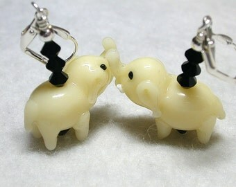 Ivory Glass Elephants Lamwork Earrings with Jet Swarovski Crystals Silver Leverback Hooks Pachyderm Cuties
