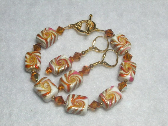Swirled Caramel Bracelet Gold Bracelet gold Earrings Lampwork Bracelet Pink Copper and White Wire Wrapped Leverback Hooks Toggle Clasp