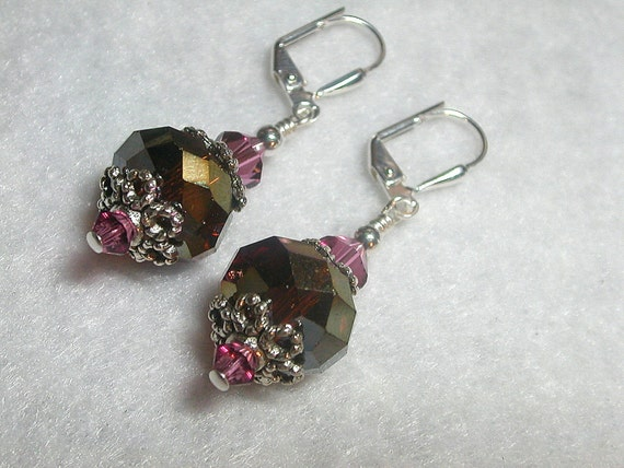 Rootbeer and Raspberry Earrings  Swarovski Crystal earrings in Silver