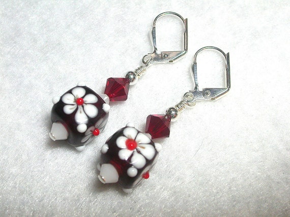 Red Earrings Garnet Earrings White Earrings in Silver Red Cubes
