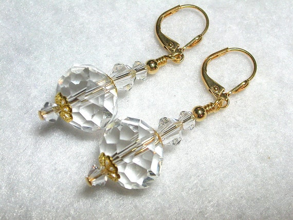 Pure Crystal Earrings in Gold