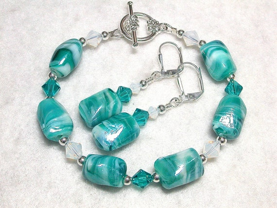 Aqua Nugget Glass and Swarovski Crystal Bracelet and Earring Set
