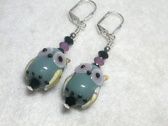 Owl Earrings Black  Purple and Gray Owls HOOT