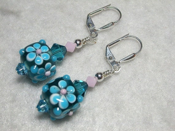 Aqua Blue Earrings Cubes and Swarovski Crystal Earrings