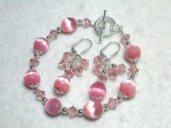 Pink Bracelet Rose Bracelet Shimmery Catseye Bracelet and Earrings