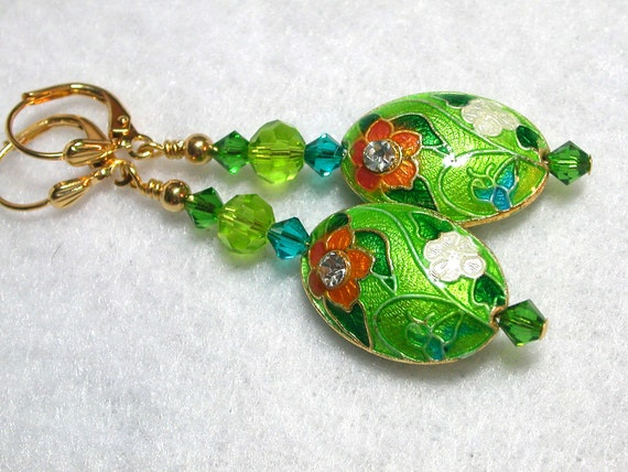 Cloisonne Earrings Flowers and Sparkle
