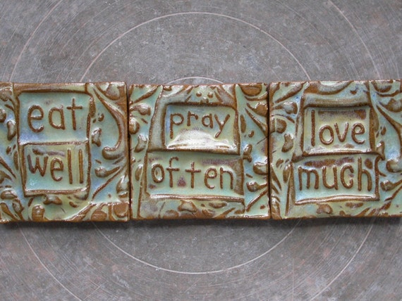 eat well  love much  tiny tile set of THREE