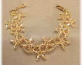 Autumn Champagne Crystal Bridal Bracelet, Golden Stars Crystal Bracelet, Bridesmaid Bracelet
