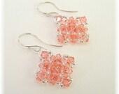 Rose Peach Crystal Bridesmaid Earrings, Coral Bridesmaids, Diamond Lace Earrings, Salmon Earrings, Rose Peach Swarovski Crystal