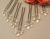 Wedding Hair Accessories, Set of Seven Freshwater Pearl Golden Blend Crystal Bridal Hair Pins
