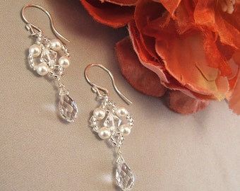 Petite Bridal Chandelier Earrings, White Pearls and Clear Swarovski Austrian Crystal, choice of white or ivory pearls