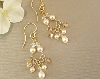 14K Gold Filled Chandelier Earrings, Pearl and Crystal  Chandelier Earrings, Choice of white or ivory pearls