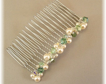 Wedding Hair Accessories - Bridal Party Hair Comb - Lush Greens and Ivory Pearl Mix, 3 inch width