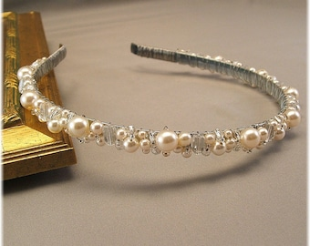 Bridal Tiara - Wedding Hair Accessories - Head Band - Ivory Cream Pearls and Clear Crystal