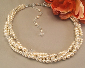 Ivory Wedding Gown Necklace, Multi Strand Bridal Necklace, Cream Pearls and Clear Crystal