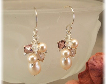 Dusty Rose Blend Earrings, Bridesmaid Earrings,  Rose Weddings, Swarovski Crystals and Pearls