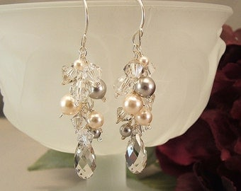 Silver Creme Collection, Bridal Earrings, Ivory Wedding Gown Earrings, Silver and Ivory Pearls