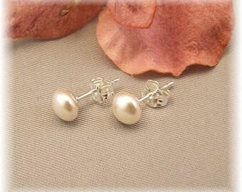 Flower Girl Pearl Stud Earrings, Pearl Button Earrings, Swarovski Pearl Post Earrings, Available in a choice of ivory or white pearls