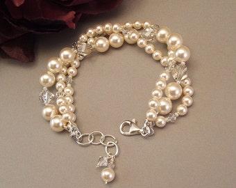 Silver Creme Collection, Ivory Wedding Gown Bracelet, Triple Strand Bracelet, Bridal Bracelet,  Intertwined Wedding Bracelet