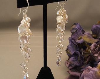 Keishi Pearl Wedding Day Earrings, Long Earrings, Ivory Keishi Pearls with Clear Swarovski Austrian Crystal