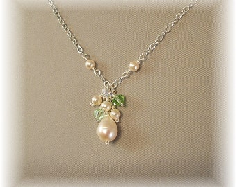 Spring Green Blend Bridesmaid Necklaces, Bridesmaid Necklaces, Green Necklaces, Bridal Party Jewelry