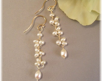 Bridal Earrings, Twisted Freshwater Pearl Earrings with 14k Gold Filled,  Artisan Wedding Earrings, Choice of Gold or Silver