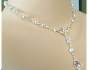 Jeweled Backdrop Necklace, Bridal Necklace, White Pearl and Crystal Necklace, Choice of Silver or Gold Metal
