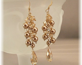Brown Earrings, Brown Bridal Party,  Bronze Pearl and Champagne Crystals, Bridesmaid Earrings, 14k gold filled
