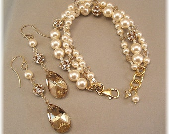 Golden Hue Bracelet and Earring Set - Cream Swarovski Pearls and Crystal - Rhinestone Jewelry