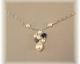Purple Velvet Blend Bridesmaid Cluster Necklace, Purple Bridesmaid Jewelry, Purple Wedding Jewelry