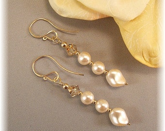 Champagne Topped Ivory Pearl Earrings, 14k gold filled Wedding Earrings, Bridal Jewelry