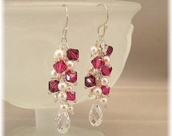 Wedding Party Jewelry, Creamy White Freshwater Pearls and Swarovski Crystal Fuchsia Mix, Cascade Earrings