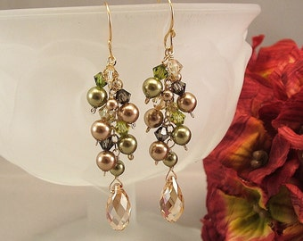 Moss Greens and Golden Bronze Blend Cascade Earrings, Swarovski Pearls, Bridesmaid Earrings, 14K Gold Filled