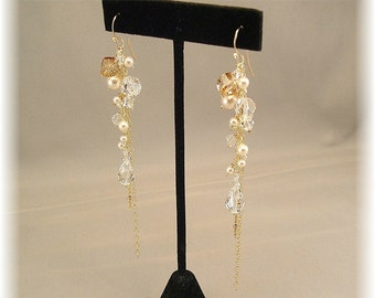 Long 14k Gold Filled Tendril Cascade Earrings, Golden Mix Swarovski Crystal and Ivory Pearls, Long Gold Earrings