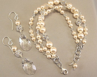 Silver and Cream Pearls Bracelet and Earring Set, Ivory Pearl Jewelry, Rhinestone Jewelry, Swarovski Rhinestone Jewelry
