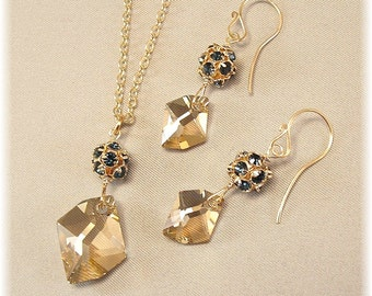Navy Blue Rhinestones, Pendant and Earring Set, Montana Blue and Golden Shadow Crystal, 14k gold filled, Navy and Gold