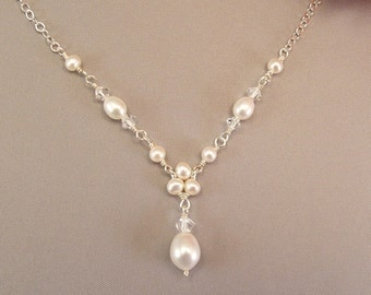 Trinity Pearl with Freshwater Pearl Teardrop,  Delicate, Simple, Dainty Necklaces,  White or Ivory Pearls available