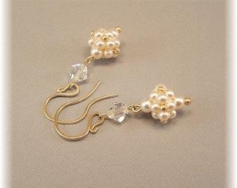 Regal Elegance Woven Drop Earrings, Ivory Wedding Gown Earrings, Pearl and Crystal Earrings, 14k gold filled earrings