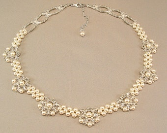 Regal Elegance Woven  Bridal Necklace -  Ivory Pearls and Clear Swarovski Austrian Crystal with silver accent beading