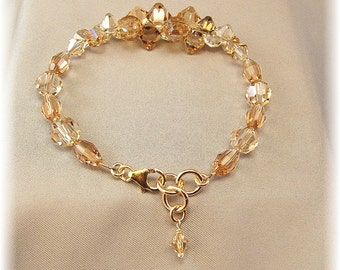 Champagne Blend Swarovski Wedding Bracelet, Golden Rock Candy Bracelet, 14k gold filled jewelry