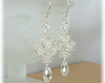 Regal Crystal Wedding Earrings, Formal Bridal Earrings, Clear Crystal Earrings, Teardrop Earrings