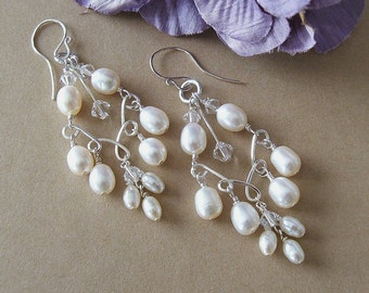Handwired Bridal Chandelier Earrings, Silver Wire Pearl Crystal Chandelier Earrings with Freshwater Pearls