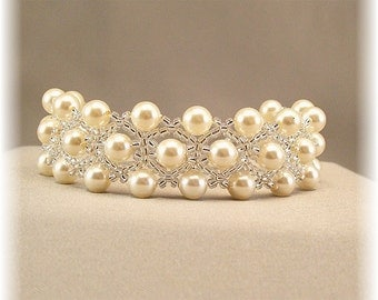 Cream Pearls and Silver Cuff Bracelet, Beaded Wedding Day Bracelet, Cream Pearl Cuff Bracelet with Silver Accent Beading