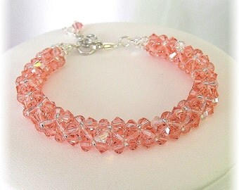Rose Peach Crystal Bridesmaid Bracelets, Coral Bridesmaids, Salmon Bracelets, Rose Peach Swarovski Crystal