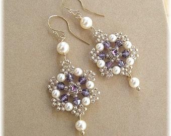 Light Bronze and Amethyst Crystal Beaded Filigree Wedding Earrings, Purple Earrings, Ivory Pearls,  Wedding Earrings, Bridal Earrings