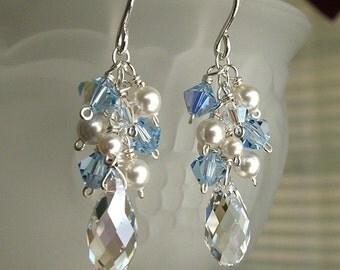 Something Blue Wedding Earrings, Cascade Earrings, Bridal Party Earrings