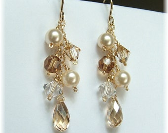 Ivory Wedding Gown Jewelry, Ivory Pearl and Champagne Bridal Earrings, Wedding Party Jewelry