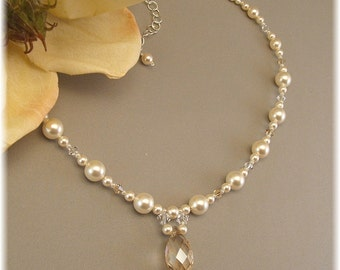 Ivory Pearls and Champagne Crystal Beaded Necklace, Wedding Necklace, Champagne Weddings